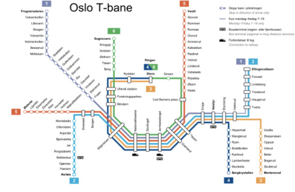 T-Bane Map Oslo