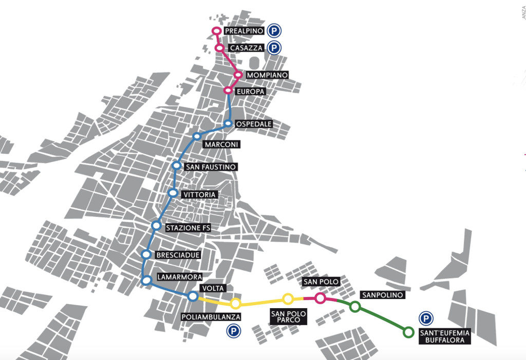 mapa del metro de brescia