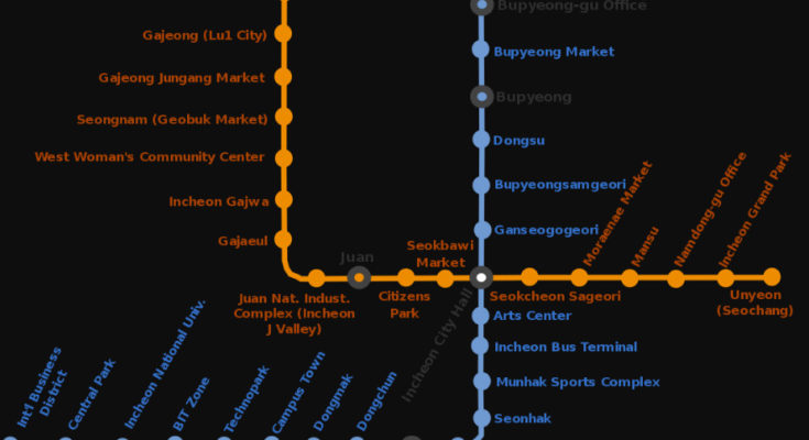 Mapa del metro de Incheon