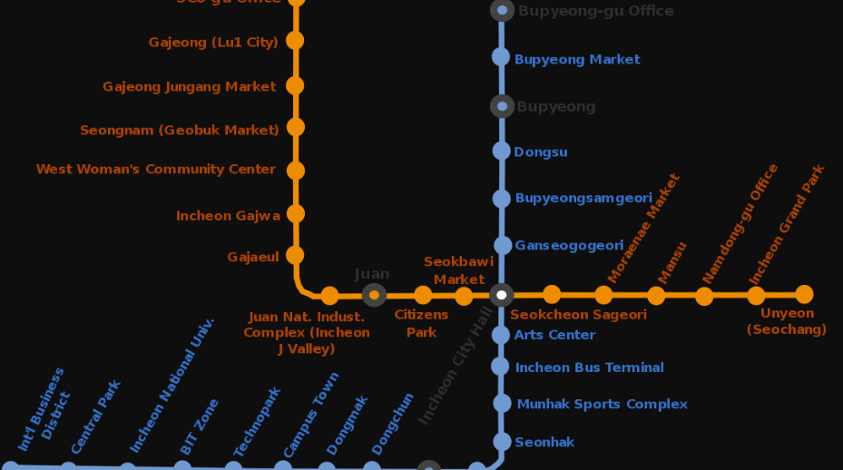 Jeongja Station Subway Map.Incheon Subway Transport Wiki